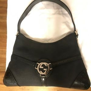 Gucci reins canvas & leather hobo bag